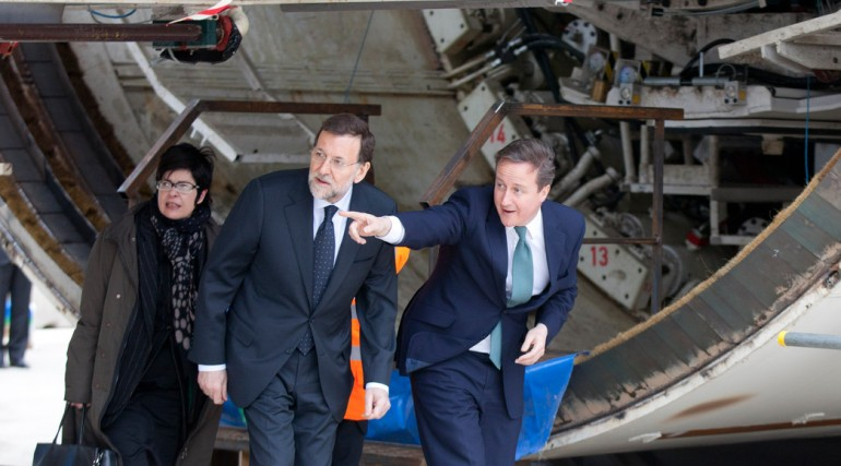 Prime Minister David Cameron visits Westbourne Park to view tunnelling machines, February 2012