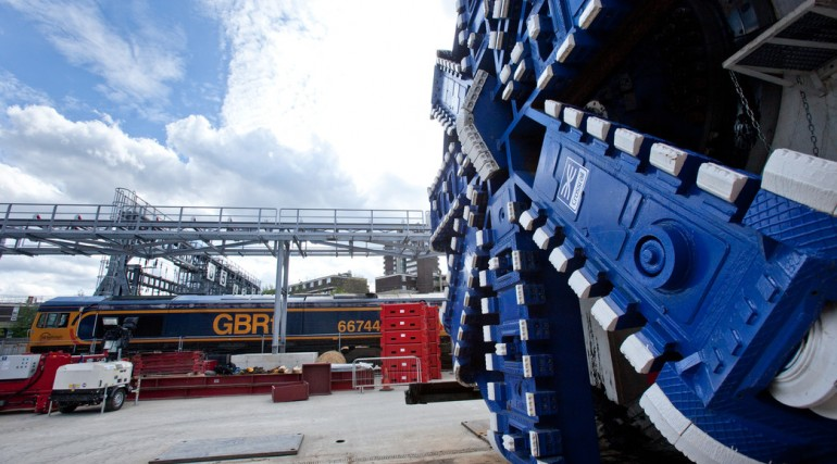 First trainload of excavated material from Crossrail's tunnels leaves London for Kent, May 2012