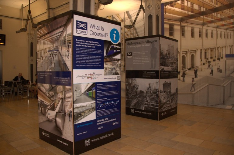 Paddington's clock arch transformed into a Crossrail information point