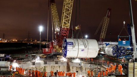 Monster lift sends east London tunnelling machines 40 metres underground