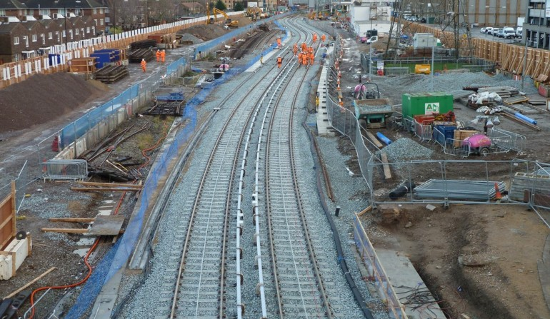 Crossrail Christmas DLR works completed at Victoria Dock Portal in east London
