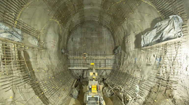 Construction of tunnels beneath Finsbury Circus at Crossrail's Liverpool Street site