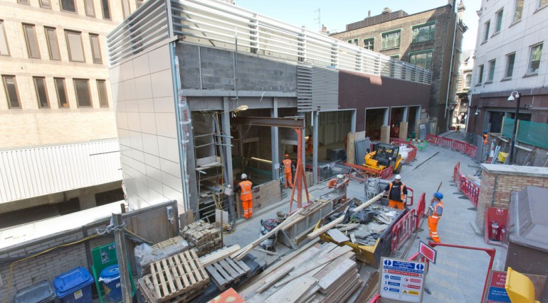 Liverpool Street - power substation works at Blomfield Street