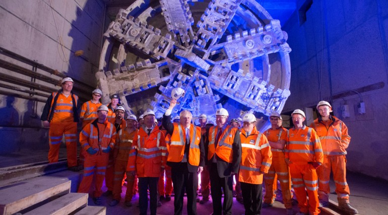 Mayor of London and Transport Secretary celebrate break through of TBM Elizabeth in Canary Wharf
