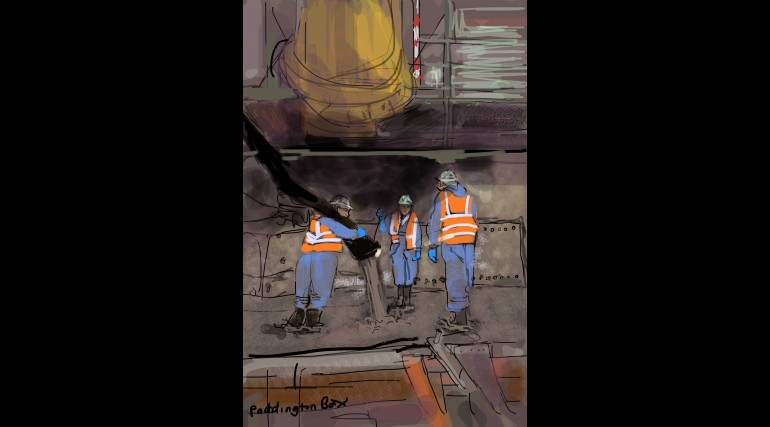 Artist in Residence drawing of Concrete pour at Paddington Station_146469
