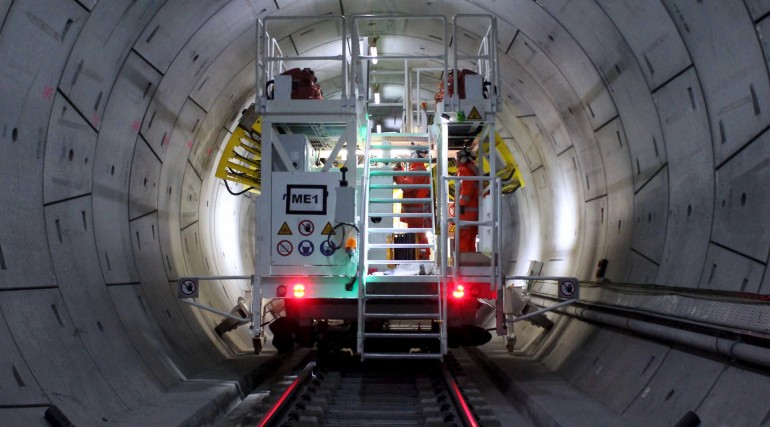 Crossrail drilling rig working in Thames Tunnel_229934
