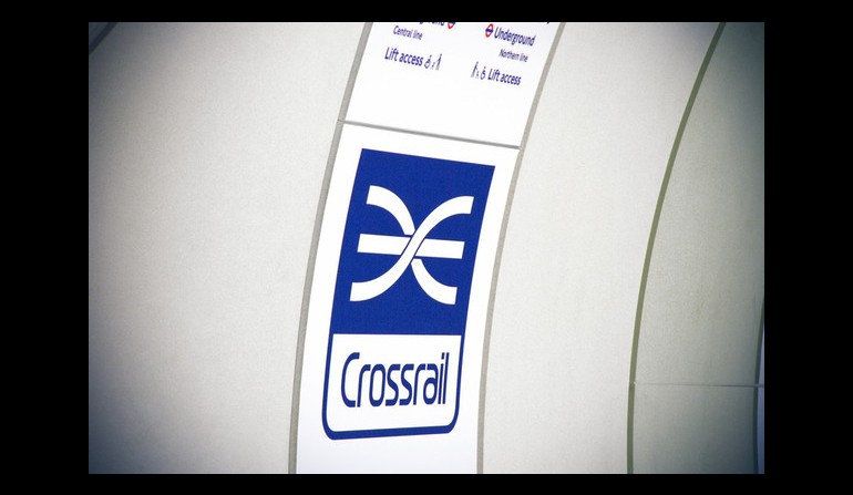 Crossrail mock-up platform logo signage