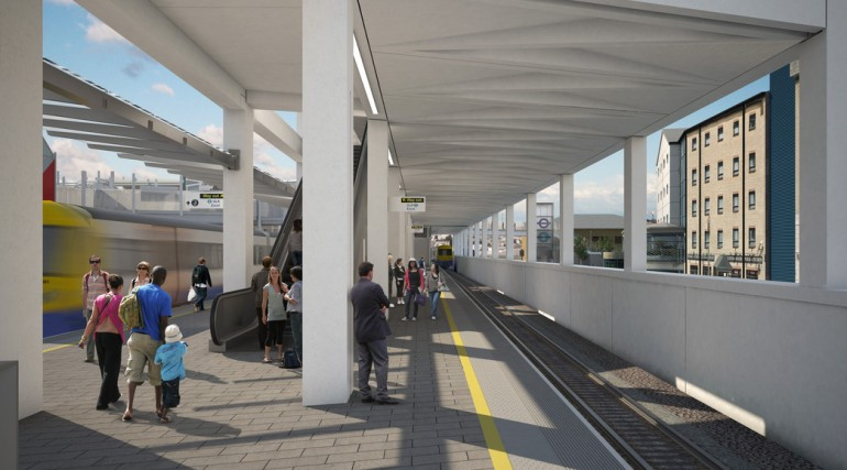 Custom House Station architects impression - Platform A_127366