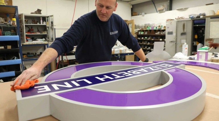 Elizabeth line signage in production at AJ Wells & Sons_294855