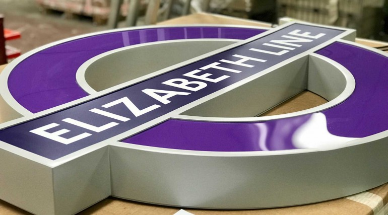 Elizabeth line signage in production at AJ Wells & Sons_296109