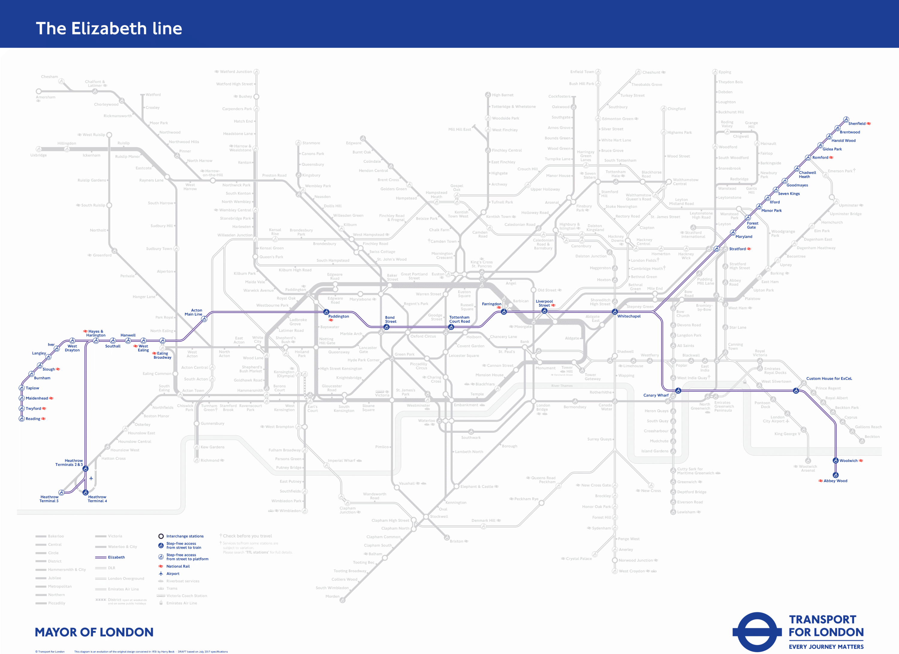 Elizabeth line network map