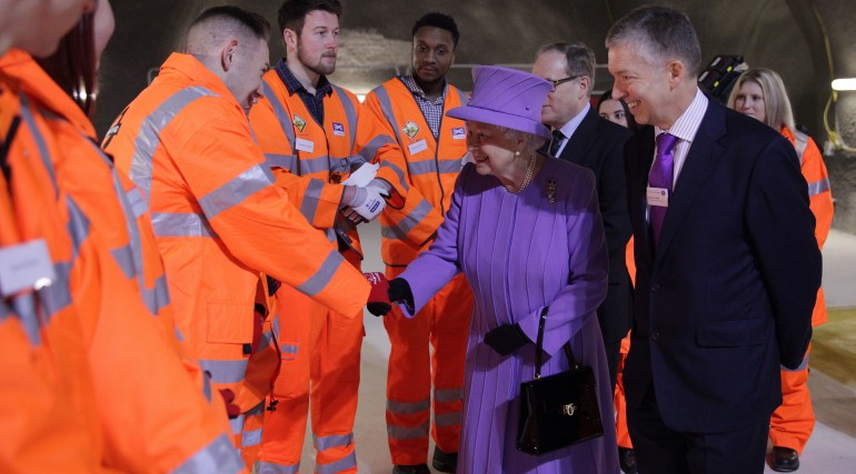 Her Majesty the Queen visits the under-construction Crossrail station at Bond Street_227829