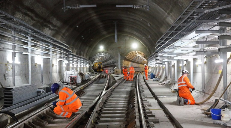 Permanent Elizabeth line track installed at Stepney Green cavern_280606