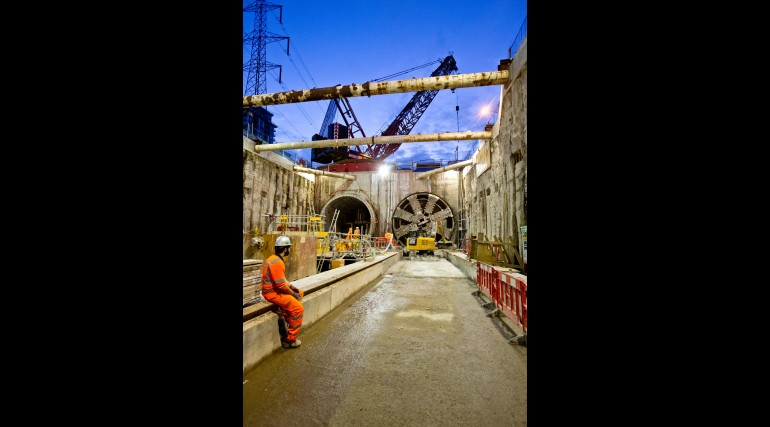 TBM Ellie breaks through in Victoria Dock Portal, October 2014_162551