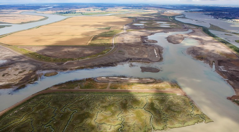 Wallasea Island post-sea wall breach aerial photo July 2015